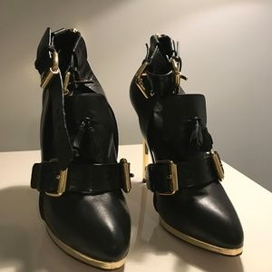 Black and Gold Leather High Heels